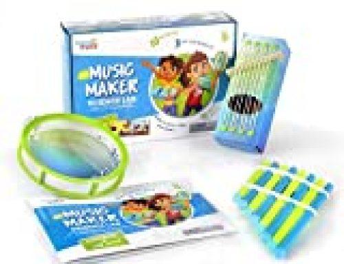 hand2mind Science Kit Music Maker, STEM Activities for Kids Ages 5-7, STEM Toys, Kids Storybook, Pan Flute, Ocean Drum, and Box Guitar, 10 at Home Science Experiments for Kids
